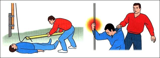 Оказание первой помощи при поражении электрическим током пострадавшему